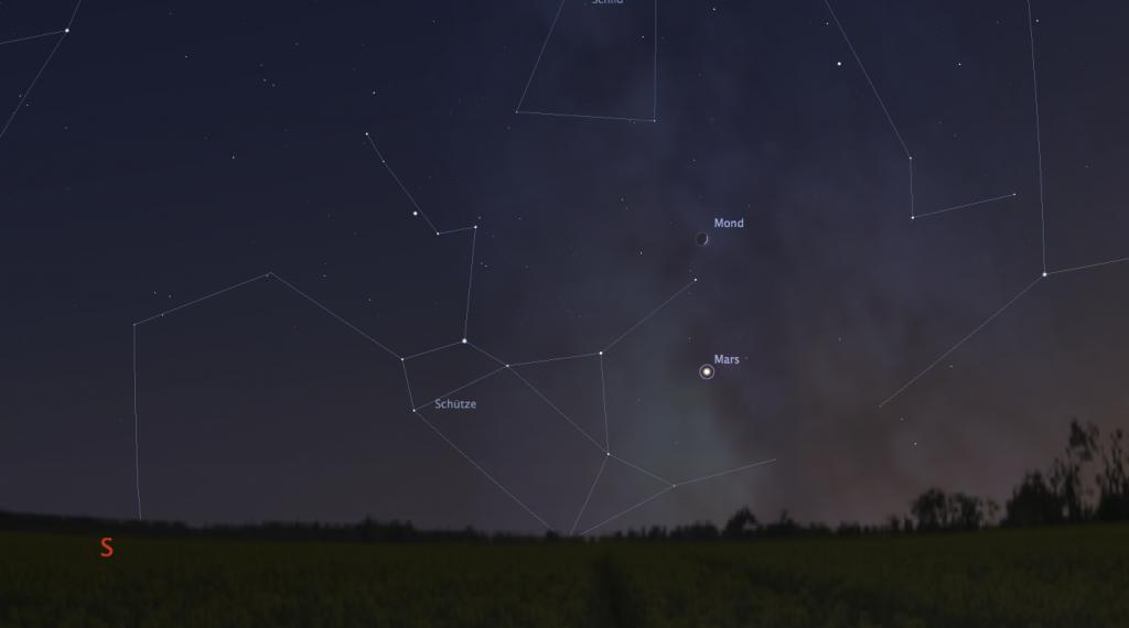 Mond und Mars am 28. Oktober um 18:00 Uhr MEZ; Himmelsanblick mit Stellarium simuliert.