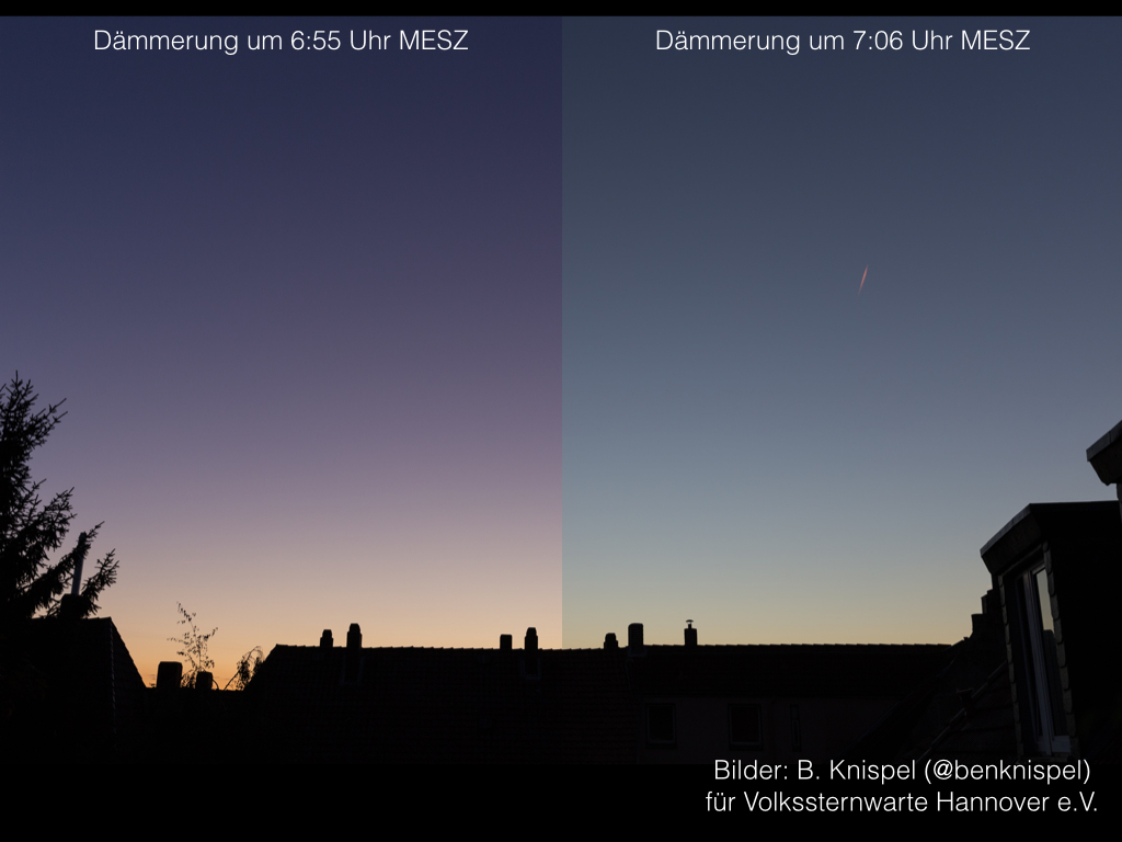 Morgendämmerung am 29. September mit (links) und ohne (rechts) Purpurlicht. (Bilder: B. Knispel)