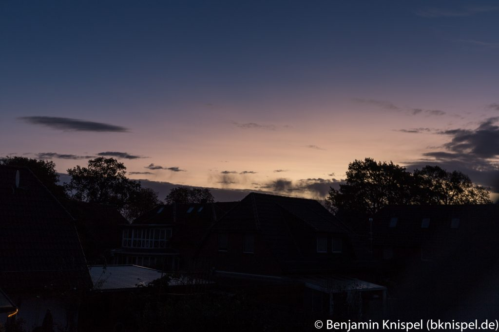 Morgendämmerung am 22.10.2017 um 7:36 MESZ. (Bild: B. Knispel)