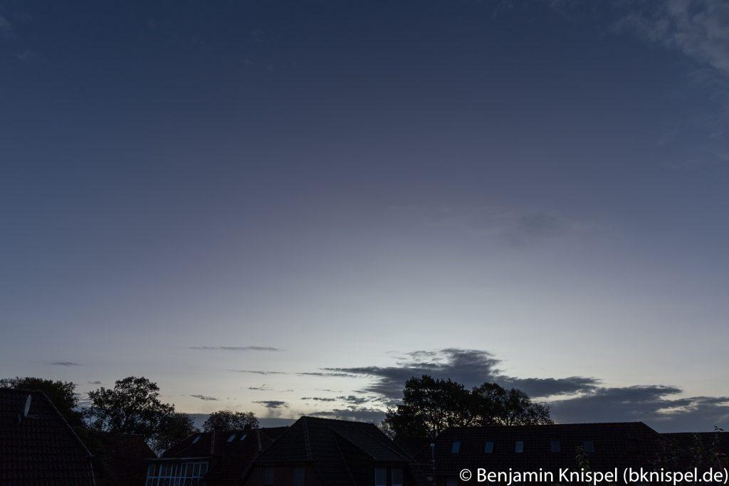 Morgendämmerung am 22.10.2017 um 7:48 MESZ. (Bild: B. Knispel)