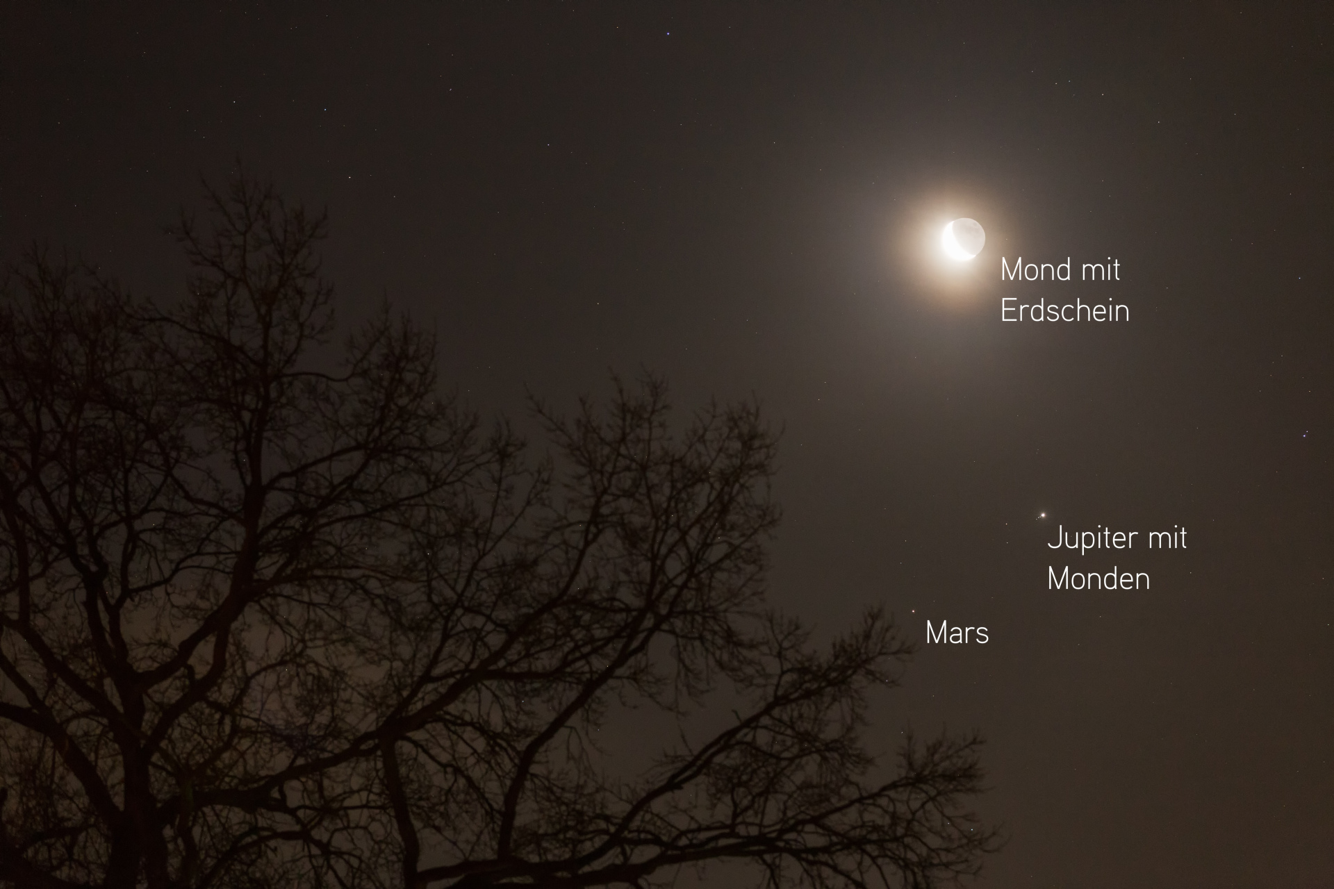 Mars Jupiter Und Der Mond Am Morgenhimmel Im Januar 2018 Benjamin